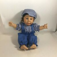 "Gi-Go 11"" Smiling Boy Doll Striped Shirt Overalls Plastic With Cloth Body"