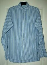 "Hilditch & Key Mens Blue Striped Shirt 39cm/15.5"" collar"