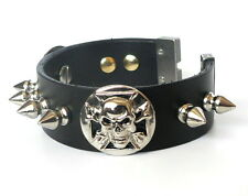 Mens Real Leather Skull Chain Spike Cuff Wristband Bracelet Gothic Biker Rock