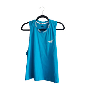 Puma Women's Amplified Cotton Cropped Tank Top Caribbean Sea Size Large