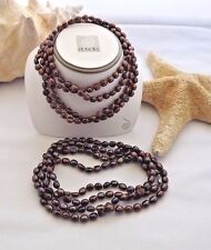 """NEW HONORA BAROQUE PEARL NECKLACE  54""""   SOLID BROWN 7MM NECKLACE"""