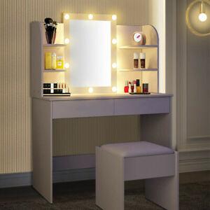 White Dressing Table Makeup Vanity Desk w/ 2 Drawers Mirror Stool LED Light Kit