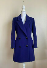 Christian Dior Electric Blue Coat DRY CLEAN Buttons Collar Pockets made in USA