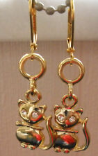 Earrings 14 Kt Gold Plated Cats Leverback Dangle Made With Swarovski Crystals