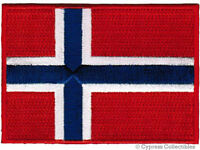 NORWAY FLAG embroidered iron-on PATCH NORWEGIAN EMBLEM applique Kongeriket Norge