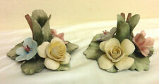 Set of Two Capodimonte Mollica Candle Holder Three Roses With Handle