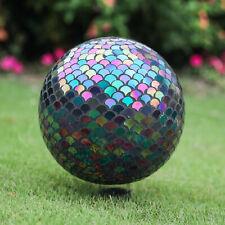 "10"" Mosaic Colorful Gazing Ball,Iridescent Crackled Glass Mosaic Globe for Yard"
