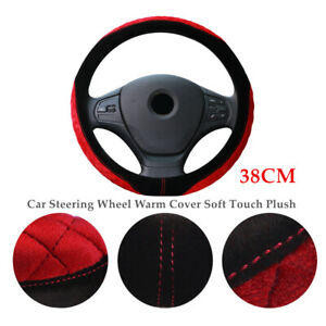 38CM 1PC Winter Car SUV Steering Wheel Warm Cover Soft Touch Plush Grip Case