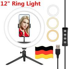 """12 """"Selfie LED Ringlicht Kit mit rutschfestem Stativ für Makeup Stream Live DE"""