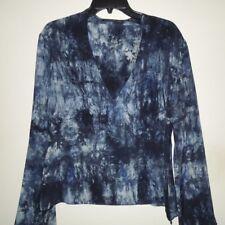 VINTAGE Bloomingdales & Tahari Navy/White Tie Dye L/S V-Neck 100% Silk Top 14