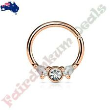 Rose Gold Ion Plated Bendable Septum/Cartilage Ring Hoop with Prong Set Clear CZ