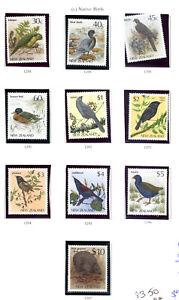 New Zealand  1985-1989 Birds Definitives 30c to $10 Fine UMM (10) MNH