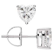 1 Ct Heart Cut Diamond Stud Earrings Solid 14K White Gold Screw Back
