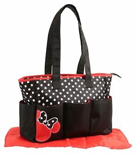 Diaper Bag Large Multi-Compartment Minnie Mouse Black & Red + White Dots NWT