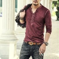 Men's Summer Casual Retro Tee Long Sleeve V Neck Shirt Buttons Solid Tops Blouse