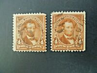 USA Lot of Two 1894 1st Bureau $.04 Lincoln #254 Used - See Description & Images