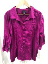 Maggie Barnes 3/4 Sleeve Shirt Women's Stretch 3X 3XL 26/28W 26W Fuchsia
