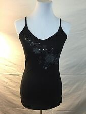 Je-Lee Signed 100% Cotton Embellished Black Tank Top W/Strap Sleeves NWT SZ XS