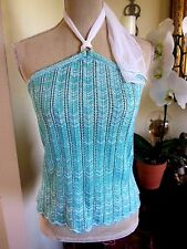 NWT  ST. John Sport knit halter top built in bra turquoise and white Med $365