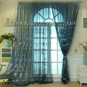 Window Sheer Curtains for Living Room Embroidered Polyester Tulle Elegant 1Panel