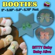 "BOOTIES 2""-2.75"" feet 10""-17"" Doll Baby Alive BITTY Handmade the Crafty Grandmas"