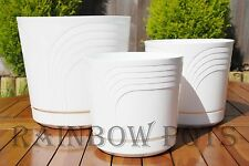 Coloured Plastic Flower Plant Pot, Planter with Saucer - Water Tray- Many Sizes
