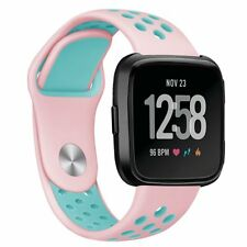 Fitbit Versa Bands - Replacement Silicone Sport Band Bracelet Strap Pink & Teal