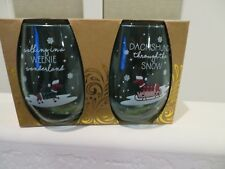 Dachshund Through the Snow Christmas Dogs Set 2 Stemless Green Wine Glasses NEW