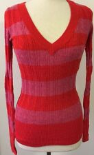 NWT American Eagle Women's Sweater Red And Pink Striped V-Neck Medium