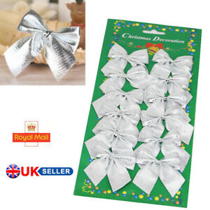Silver Christmas Tree Bow Decoration Baubles XMAS Party Garden Bows Ornament UIK