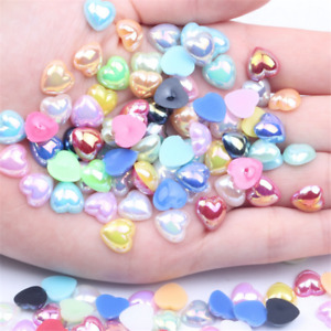 100pcs 8/10/12MM Resin Heart pearl patch Cabachons DIY Nail art Jewelry Making