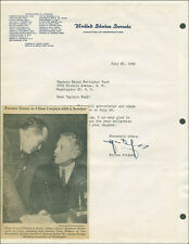 HENRY STYLES BRIDGES - TYPED LETTER SIGNED 07/30/1945