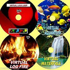 VIRTUAL WATERFALL, LOG FIRE, FISH TANK, & LAVA LAMP, SUPERB 4 DVD VIDEO SET NEW