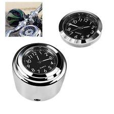 "Motorcycle Handlebar Mount Quartz Clock Watch Onever Waterproof 7/8"" 1"" Chrome"