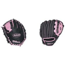 "Wilson A200 Girls Tee Ball Glove 10"" Black/ Pink WTA0200TBGIRL NEW"