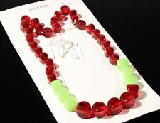 """20"""" necklace element chunky red Uranium pinched oval Czech vintage glass beads"""