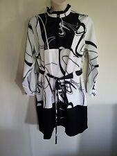 ELOQUII PLUS SIZE GEOMETRIC TIE BELT DRESS 14 BLACK & WHITE STRETCH