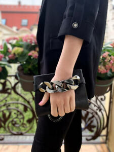 GIVENCHY Infinity Chain Detail Black Metallic Clutch Bag Small