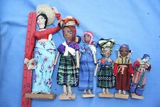 Lot of 6 Guatemala Folk Art Dolls Central America 5-10 inches