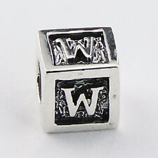 Silver bead Letter W Cube 7mm high 925 sterling silver for charm bracelet