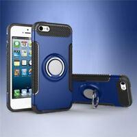 coque à renfort en carbone Silicone bleu +anneau métal Apple iPhone X