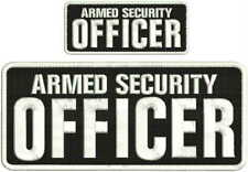 Armed Security Officer embroidery patch 4X10 and 2x5 hook white