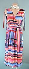 CATHERINE MALANDRINO Multi color Draped Wrap Dress 6 Pleated Work NWT