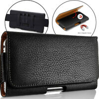For LG Velvet 5G UW Phone Case Leather Belt Holster Clip Pouch Cover Black