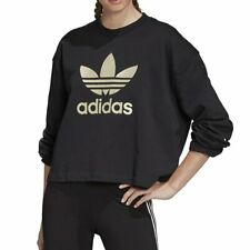 adidas Premium Logo Crew Sweater Black Damen Pullover Sweater Schwarz Gold