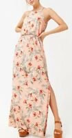 Forever 21 Soft Stretch Maxi Long Full Length Dress Tropical Floral Print S NEW