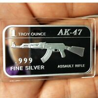 AK-47 Assault Rifle design. 1 Troy oz .999 Fine silver Bullion bar. Military NEW