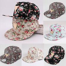Men Women Floral Flower Snapback Hip Hop Hat Flat Adjustable Baseball Cap pref