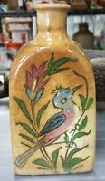 Mid 19th Century Iznik Pottery Bird/Floral Motifs Faceted Vase (Anatolia)