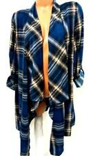 New york laundry blue plaid roll up sleeve open cardigan sweater XL